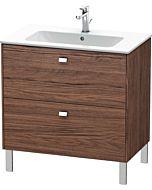 Duravit Brioso Waschtischunterbau BR440201021 820x479mm, Nussbaum Dunkel/Chrom, 2 Auszüge
