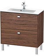 Duravit Brioso Waschtischunterbau BR440701021 820x389mm, Nussbaum Dunkel/Chrom, 2 Auszüge