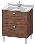 Duravit Brioso Waschtischunterbau BR4421021021 670x469mm, Nussbaum Dunkel/Chrom, 2 Auszüge