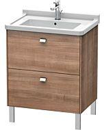 Duravit Brioso Waschtischunterbau BR4421021073 670x469mm, Kirschbaum/Chrom, 2 Auszüge