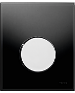 TECEloop Urinal Betätigungsplatte 9242656 Glas schwarz, Taste chrom glänzend