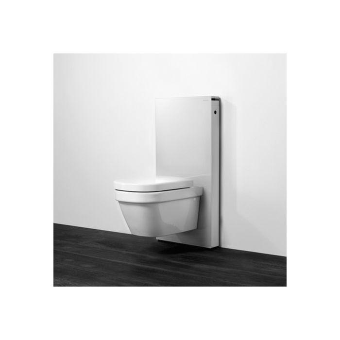 Geberit Monolith Wand WC Modul 131022SI5 Bauhöhe 101cm, Glas weiß, Seite  Alu gebürstet