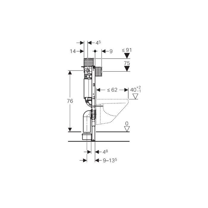 Geberit Duofix Wand-WC-Element 111003001 BH 82 cm, mit Omega UP-Spülkasten  12 cm