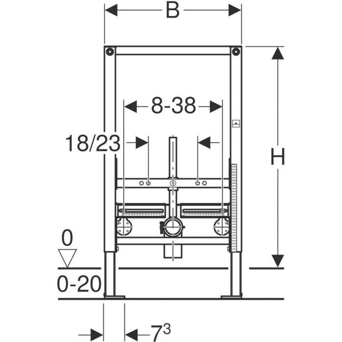 Geberit Montageelement Duofix Wand-Bidet,Bauhöhe 82 cm,111515001,Vorwandelement