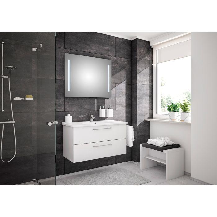 Artiqua Basic Badmöbel Block Plus mit LED Lichtspiegel 80811091005 100 cm, weiß hochglanz, mit ...