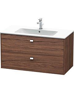 Duravit Brioso Waschtischunterbau BR410301021 1020x553 mm, Nussbaum Dunkel/Chrom, 2 Auszüge