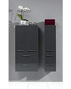 Artiqua Midischrank Serie 818, 121x30x30cm Anschlag links, Weiss Glanz, 1 Tür + 2 Schubladen
