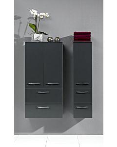 Artiqua Midischrank Serie 818, 121x60x30cm Graphit Struktur, 2 Türen, 2 Auszüge