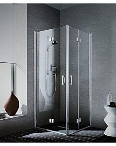 Kermi Eckeinstieg Liga Halbteil LI2CR090201AK 90x200cm, rechts, silber/mattglanz, Echtglas klar