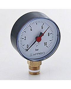 """Afriso Manometer 0-10 bar, senkrecht 63564 Gehäuse 80mm Durchmesser, 1/2"""" Anschluss"""