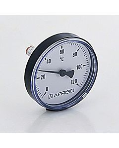 """Afriso Bimetall Thermometer 0-120 Grad 63704  Gehäuse 63mm, Schaft 40mm, 1/2"""" Anschluss"""