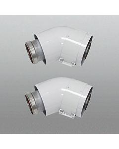 Vaillant Bogen 45 Grad 60/100 mm 303809 konzentrisch Aluminium, 2 Stück