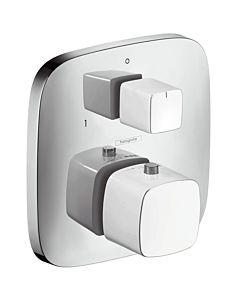 hansgrohe Fertigmontageset PuraVida white chrom Unterputz-Thermostatbatterie, Ab-und Umstellventil