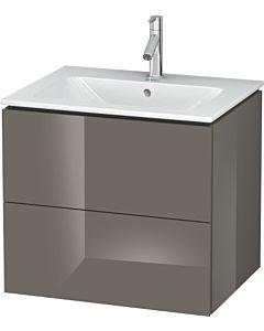 Duravit L-Cube Waschtischunterbau LC624008989 Flannel Grey Hochglanz, 62x55,5x48,1cm, 2 Auszüge