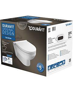 Duravit DuraStyle Basic Wand-WC Rimless® Set 45620900A1, weiss, mit WC-Sitz, rimless