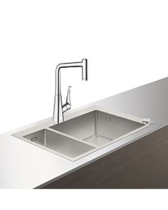 Hansgrohe Select C71-F655-04 Spülencombi 43210800 Edelstahl-optik, mit sBox, 1 Haupt-/Zusatzbecken