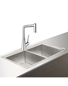 Hansgrohe Select C71-F765-05 Spülencombi 43211800 edelstahl-optik, mit sBox, 2 Hauptbecken