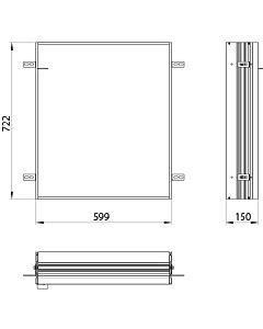 Emco Asis Prime 2 Einbaurahmen 949700020, 599x722, für Spiegelschränke Emco Asis Prime 2 600mm