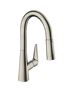 hansgrohe Talis S 160 kitchen faucet 72815800 Stainless steel look, pull-out spray