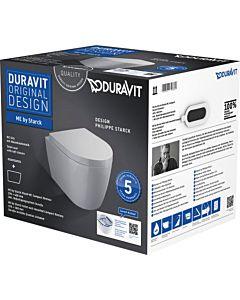 Duravit ME by Starck Wand Tiefspül WC 45300900A1 weiss, Set mit WC und WC-Sitz, Compact WC