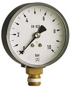 """Afriso Manometer 0-10 bar, senkrecht 63614 Gehäuse 100mm Durchmesser, 1/2"""" Anschluss"""