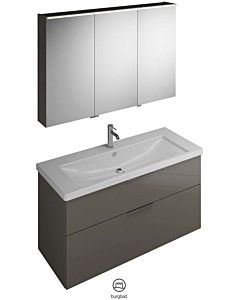 Burgbad Eqio combinaison de lavabo SFAN123LF201001 largeur 123cm, gauche, gris brillant, SPGS120, SEYQ123