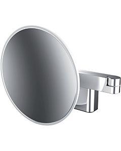 Miroir de rasage / cosmétique LED EMCO evo chromé , grossissement chromé , Ø 209 mm, 2 bras, rond
