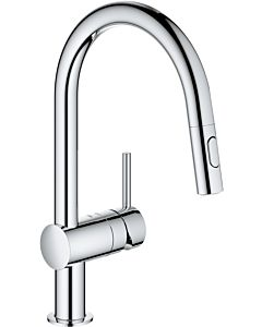 Grohe Minta single-lever sink mixer 32321002 chrome, pull-out dual spray, C-spout