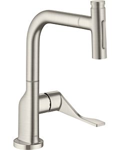 hansgrohe Select single-lever sink mixer 39863800 with pull-out spray, stainless steel look