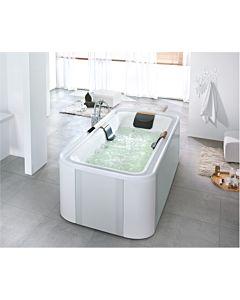 Hoesch Ergo+ Freisteh-Badewanne 6441.010305551 207,5x107,5cm, weiß/verchromt, Wannenverkleidung Glas silber