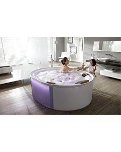 Hoesch Ergo+ Oval-Freisteh-Badewanne 6442.010305551 200x160cm, weiß/verchromt, Wannenverkleidung Glas silber