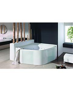 Hoesch Ergo+ Eck-Freisteh-Badewanne 6443.010305551 164x164cm, weiß/verchromt, Wannenverkleidung Glas silber