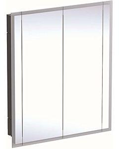 Geberit One Spiegelschränke 500493001 85x100x16cm, mit Beleuchtung, 2 Türen, Melamin/Aluminium gebürstet