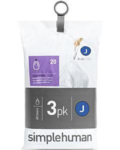 sac poubelle simplehuman CW0259 60 pièces, pour poubelle à capteur, ajustement parfait, 30-45 l