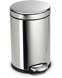 simplehuman Abfalleimer CW1851CB polierter fingerabdrucksicherer Edelstahl, rund, 4,5 l