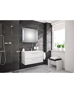 Artiqua Basic Badmöbel-Block Plus mit LED-Lichtspiegel 80811091005 100 cm, weiß hochglanz, mit Keramik-Waschtisch und Unterschrank