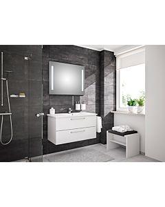 Artiqua Basic Meubles -Block Plus avec miroir lumineux LED 80811091005 100 cm, blanc brillant, avec vasque Céramique et Céramique