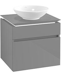 Villeroy & Boch Legato Waschtischunterschrank B568L0FP 60x55x50cm, mit LED-Beleuchtung, Glossy Grey