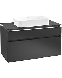Villeroy & Boch Legato Waschtischunterschrank B740L0PD 100x55x50cm, mit LED-Beleuchtung, Black Matt Lacquer
