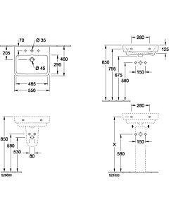 Villeroy & Boch O.Novo Halbsäule 52660001 weiss, für Waschtische o.Novo von 55-65  cm