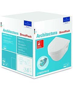 Villeroy & Boch Architectura Wand WC 4687HR01 Combi Pack, weiss, DirectFlush, mit WC-Sitz