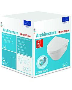 Villeroy & Boch Architectura Wand WC 4687HRR1 Combi Pack, weiß c-plus, DirectFlush, mit WC-Sitz