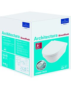 Villeroy und Boch Architectura Combi-Pack wall-mounted washdown unit 4694HR01 rimless, with WC seat, white