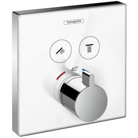hansgrohe ShowerSelect thermostat de douche 15738400 thermostat encastré, 2 Verbraucher , blanc- chromé