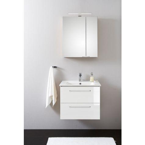 Artiqua Basic Badmöbel-Block PLUS m LED-SPS 808.11091004 100 cm, weiß hochglanz, mit Keramik-Waschtisch und Unterschrank